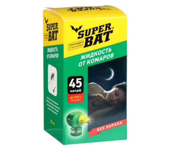 Набор-от-мух-SuperBAT-(фумигатор,-репеллентная-жидкость-на-45-ночей,-5-липких-лент-для-улавливания)