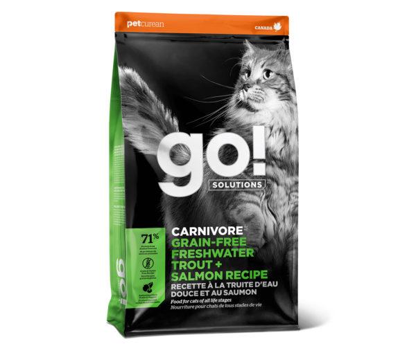"""2. Корм сухой """"Go!"""" для кошек и котят с чувствительным пищеварением, беззерновой, с форелью и лососем"""