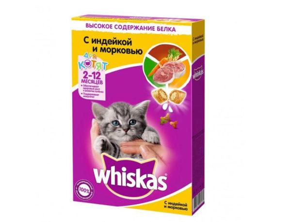 Whiskas Вкусные подушечки для котят с молочной начинкой, индейкой и морковью