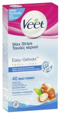 Veet Восковые полоски Easy Gelwax с витамином E и миндальным маслом для чувствительной кожи