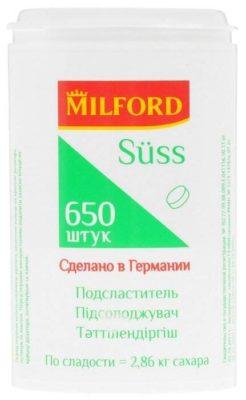 Milford Подсластитель Suss таблетки