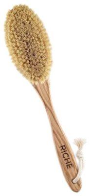 Щетка RICHE для сухого массажа из волокна кактуса, ручка из дуба