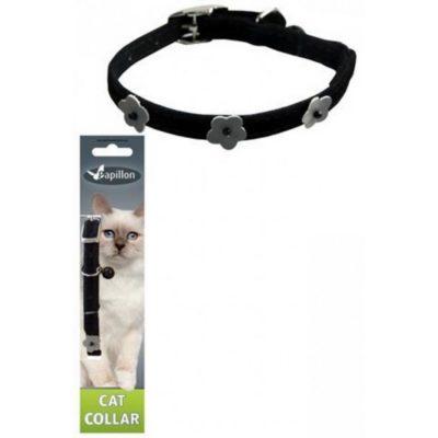 Papillon Reflective velvet cat collar, черный