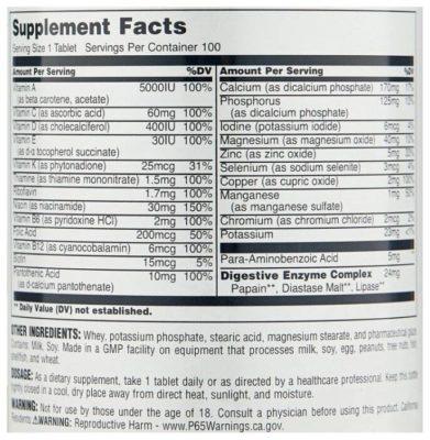 Universal Nutrition Daily Formula (100 таблеток)