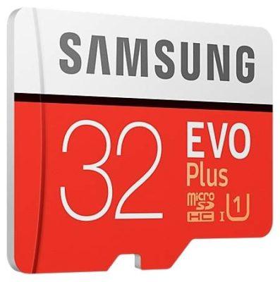 Samsung MB-MC32GA/RU 32 ГБ, скорость чтения 95 МБ/с, скорость записи 20 МБ/с, адаптер на SD