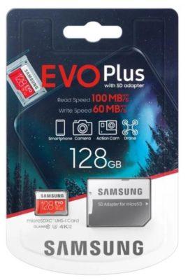Samsung MB-MC64HA/RU 64 ГБ, скорость чтения 100 МБ/с, скорость записи 60 МБ/с, адаптер на SD